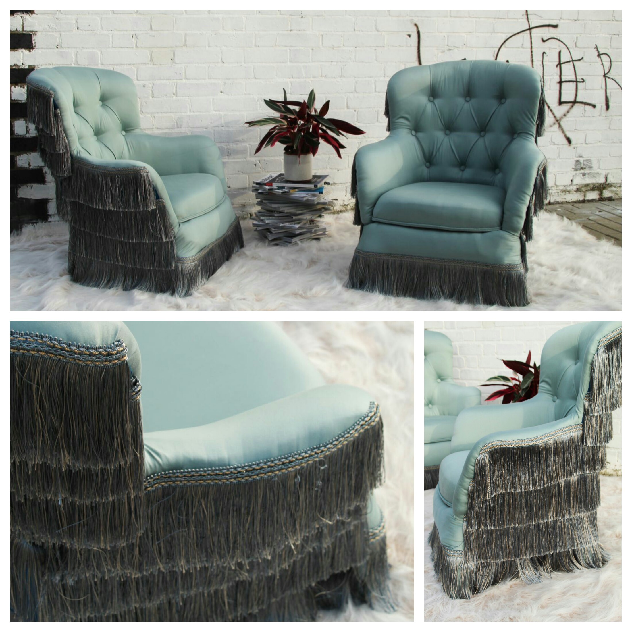 'June-Bugs' - A pair of blue sateen modern button backed armchairs, snug as a bug and with a 'shell' of beautiful blue tasseLs.*ONLY 1 LEFT*