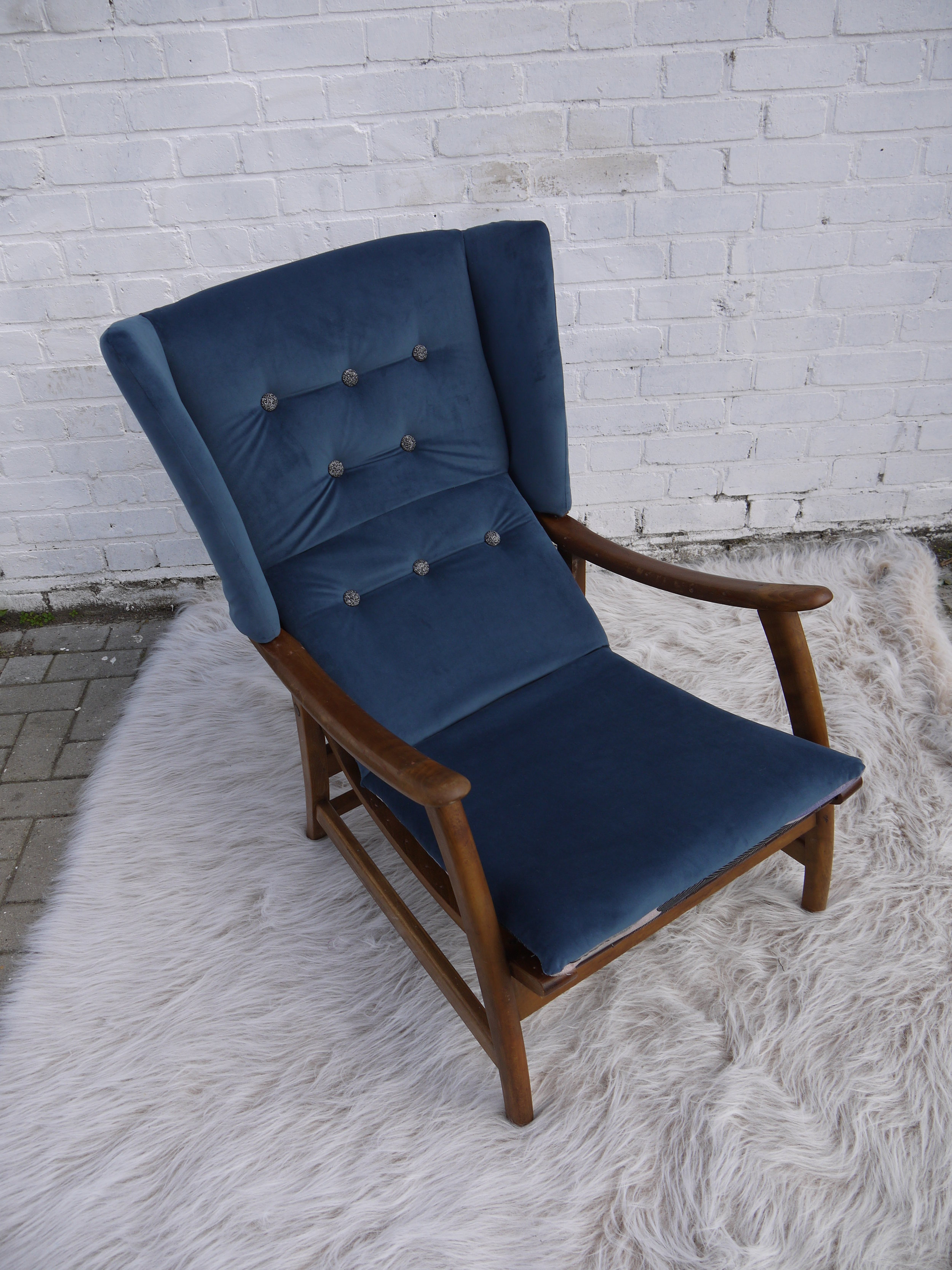 'Uncle Geoffrey' - This mid century recliner has been completely restored and revived and upholstered in a beautiful blue velvet with black/silver detailed buttons. Contrast fabric on the underside and back - I'll let the chair speak for itself.*SOLD*