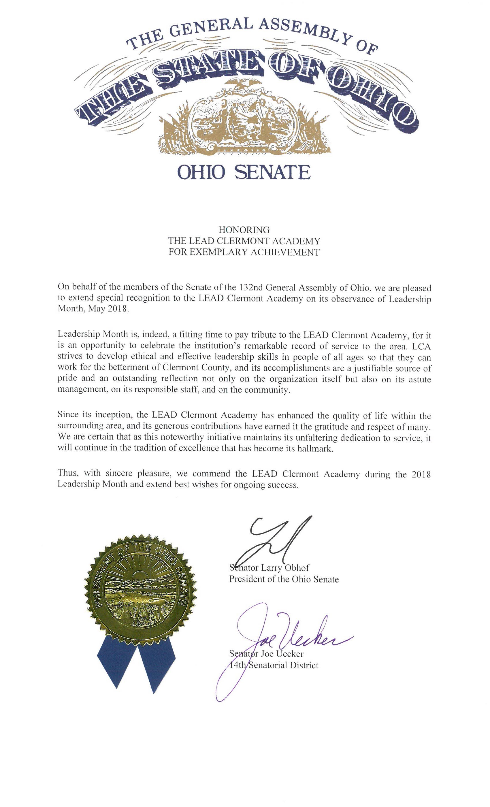 Ohio Senate LEAD Recognition