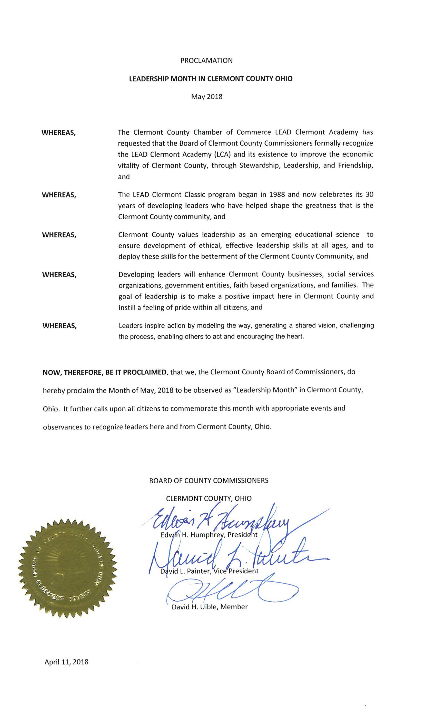 Clermont County Leadership Month Proclamation
