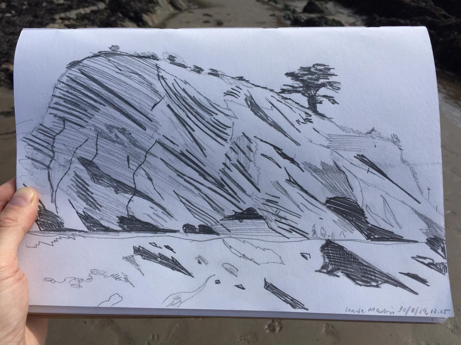 Preparatory sketch for painting of Combe Martin beach
