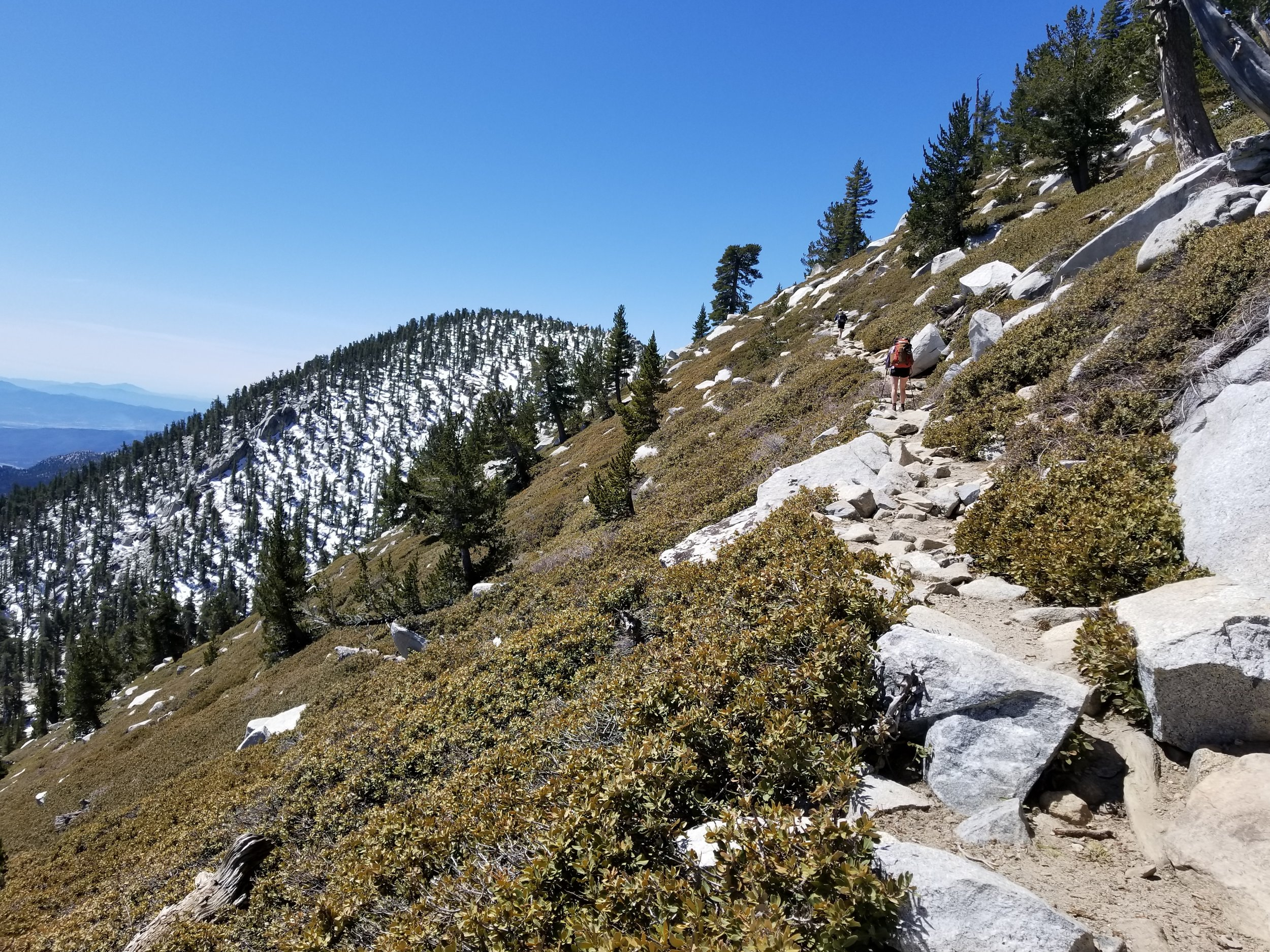 hiking up to the summit