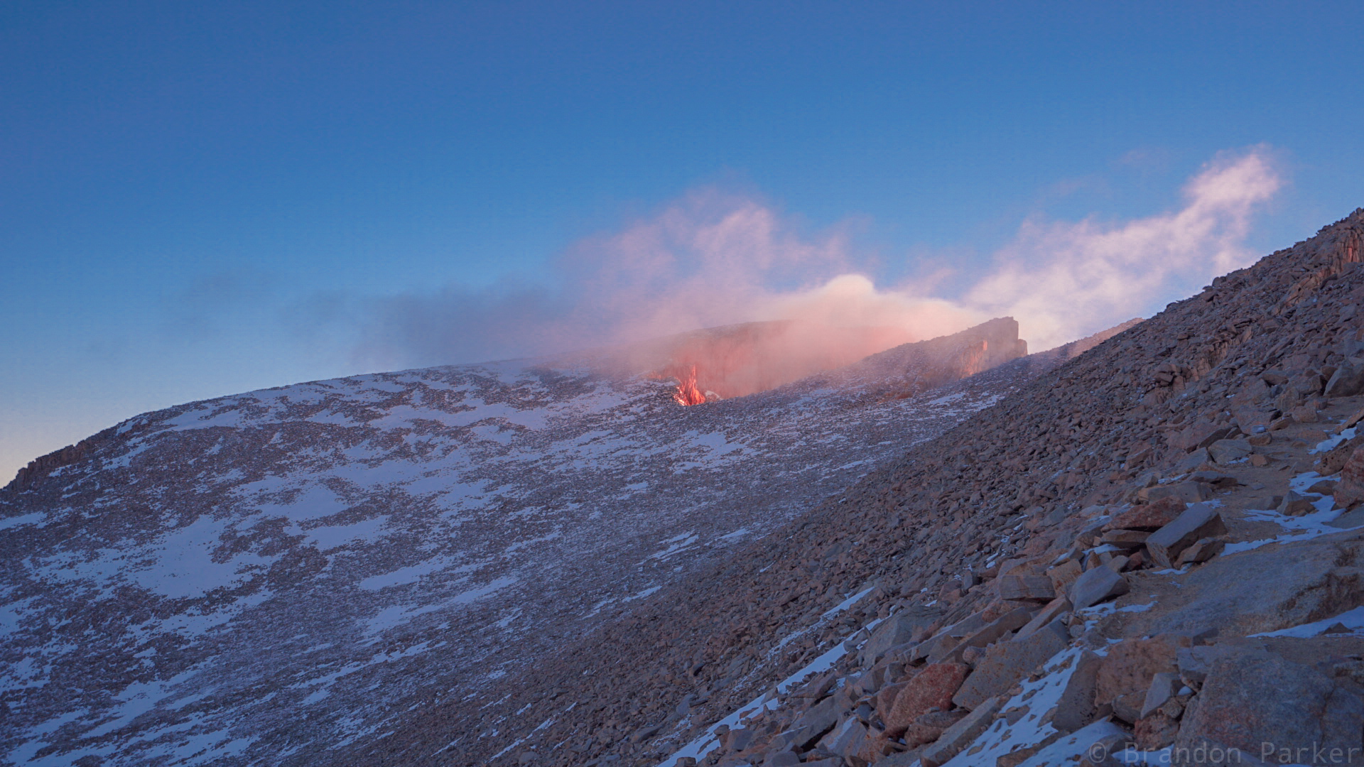 My Whitney summit on fire in the early morning sunrise