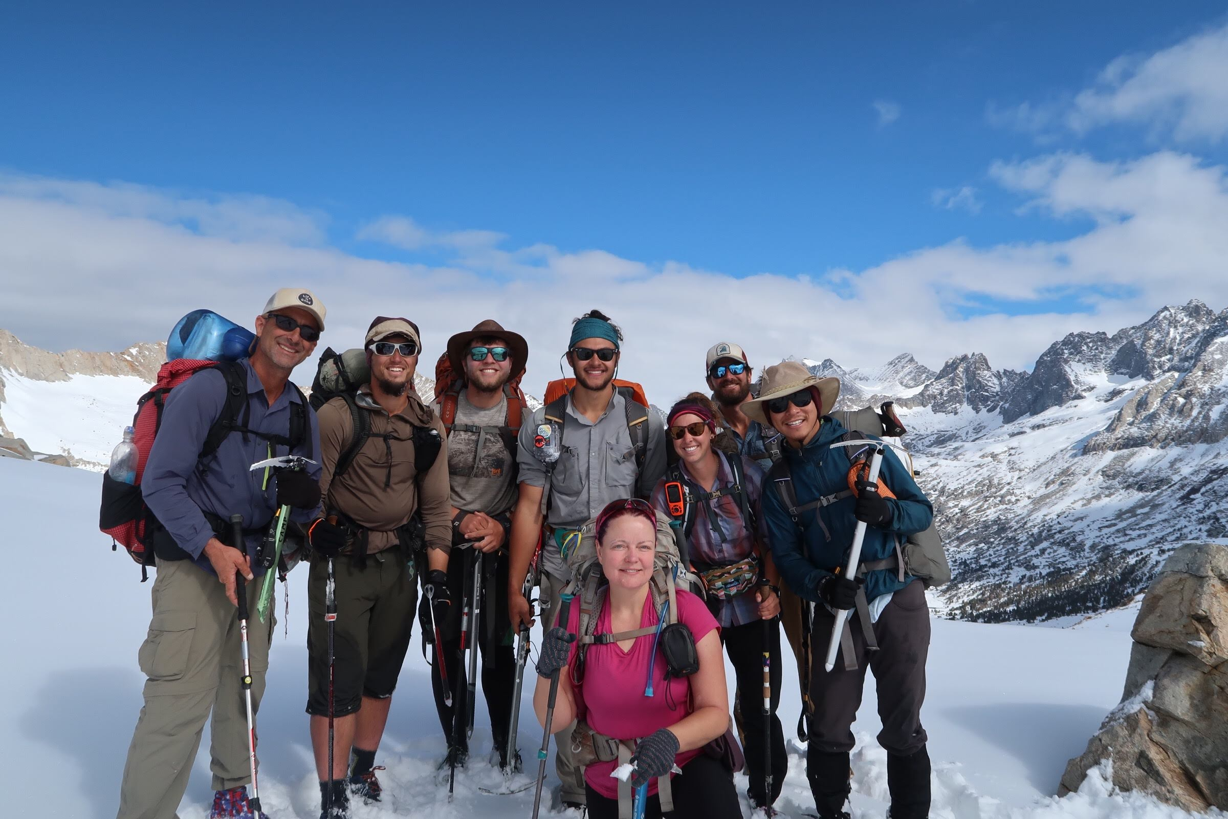 Team picture on top of Mather Pass