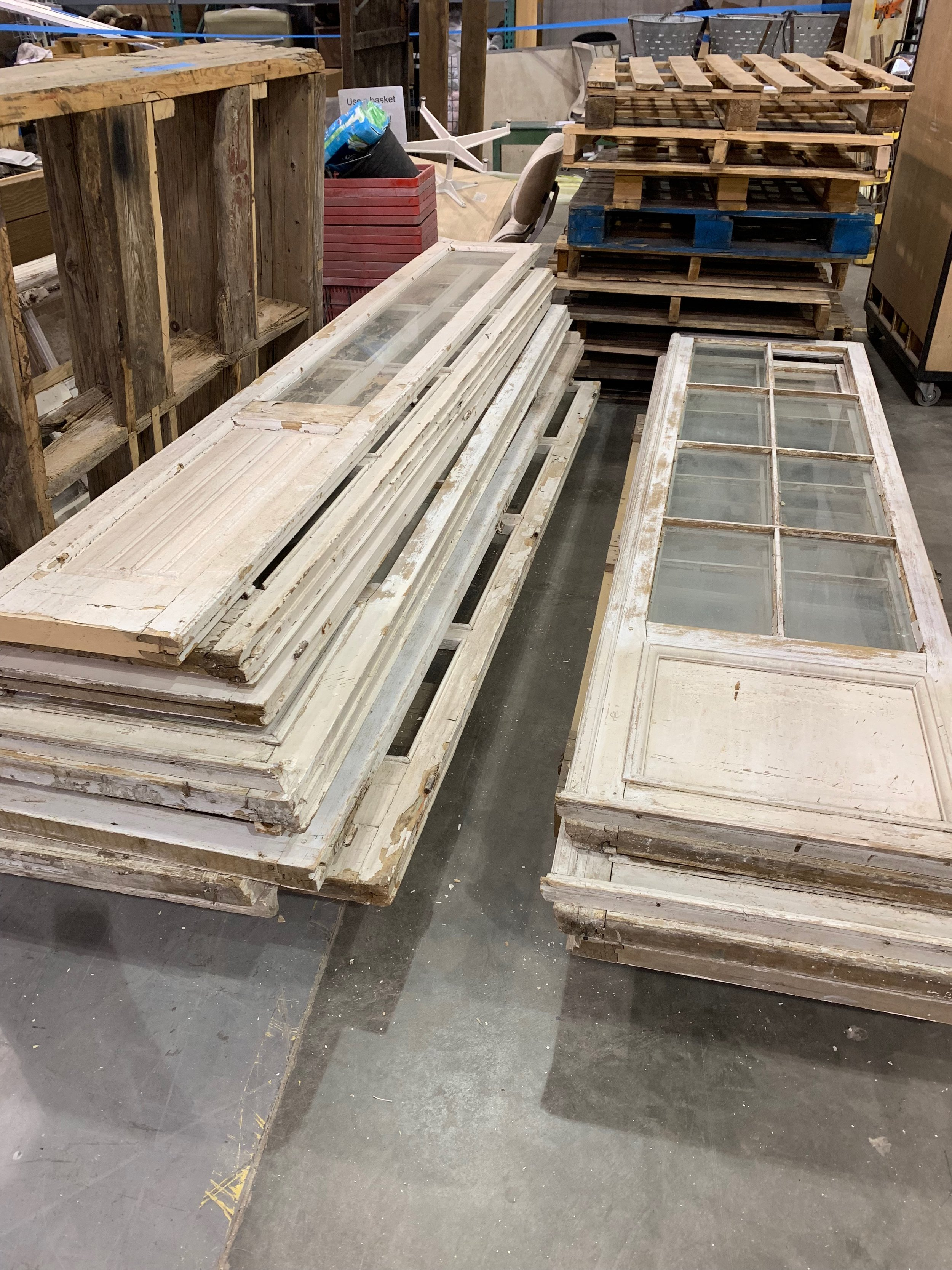 Take these glass windows and make your greenhouse or she shed! or use them as decorative accents for your walls. -