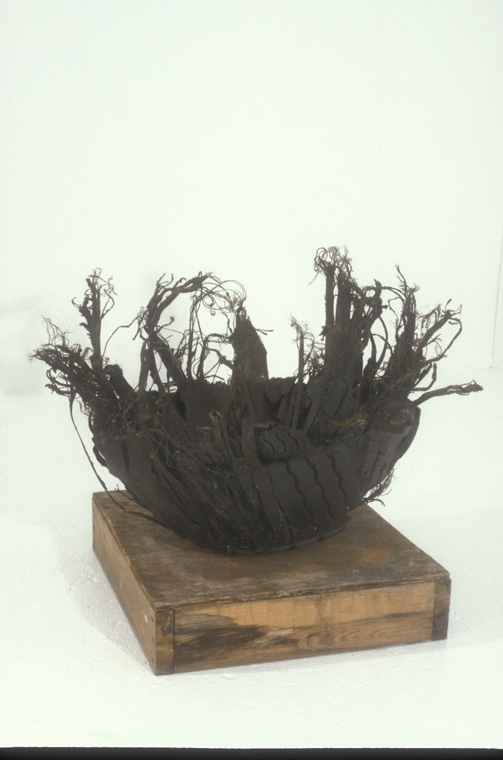 BOWL  1995  Steel belted tire pieces, plaster, paint, rubber, 3 x 3 x 2' H.
