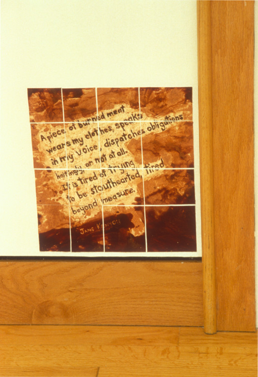 "A PIECE OF BURNED MEAT  (lines from Jane Kenyon's poem Having It Out With Melancholy, 7.""Pardon"",  Constance ), 1993-94,  Wax and sgrafitto on paper, 14"" x 14""."