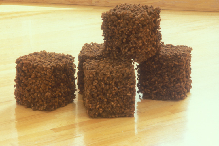 "CHILDHOOD  1993-4  Compacted cockle burrs, 5 cubes each 10 x 10 x 10""."