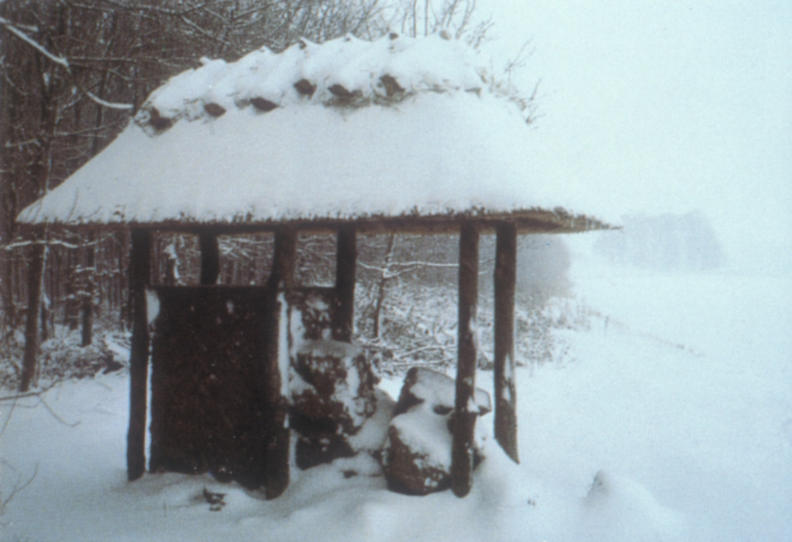 Hilltop site in snow, as it eroded in winter of 1994.