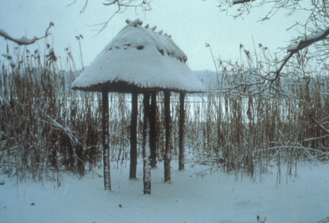 Lake site in snow, winter 1994.
