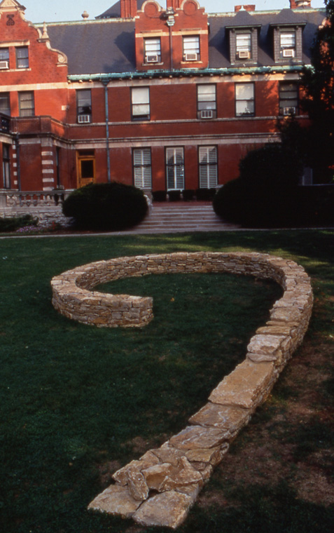 View of central spiral sited on campus green at Kansas City Art Institute.