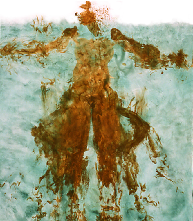 """Treading Water  2001  Body print with Kansas City clay and pigment on paper, 5' 5"""" x 6'."""