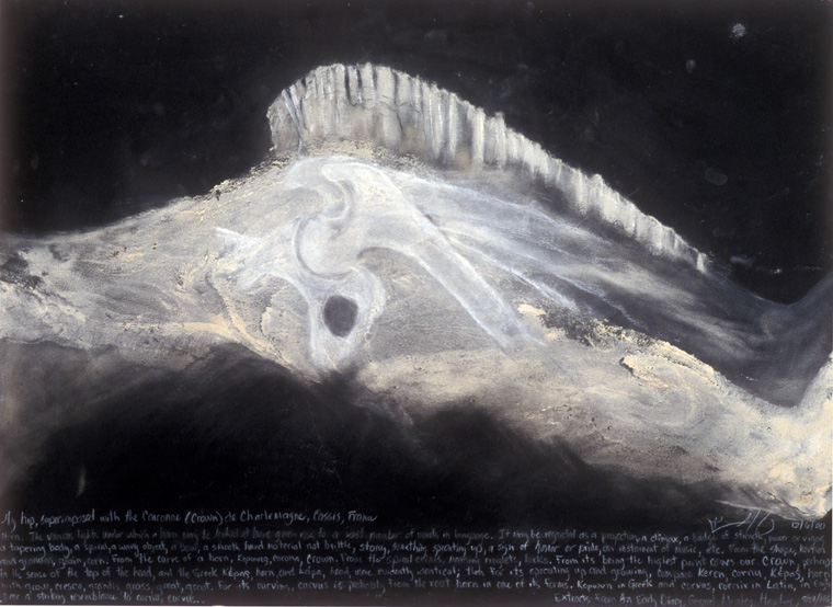 """#2 My Hip As the Couronne De Charlemagne (Crown of Charlemange)  2000  Body print and drawing from x-ray, with text from Gerard Manley Hopkins, Extracts from and  Early Diary, September 24, 1863 , soil pigments found on the Crown of Charlemagne, 22"""" x 30""""."""