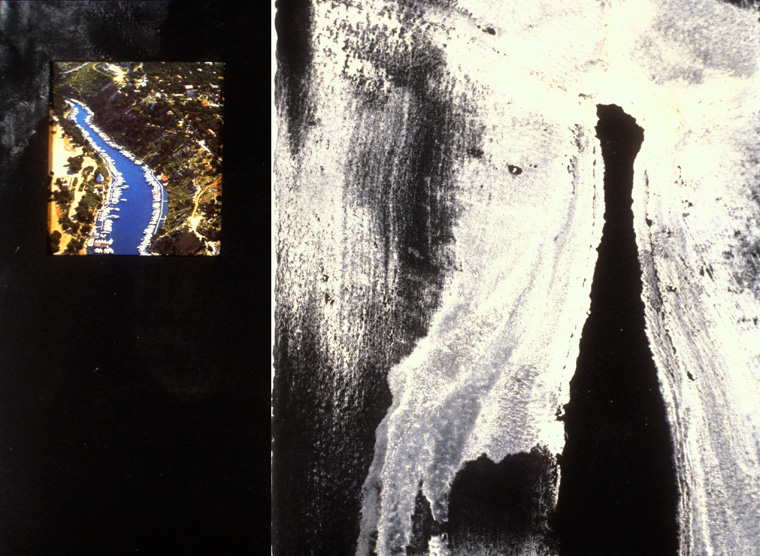 """My Thighs As Port Miou  2000  Found pigment and mixed media 22"""" x 14""""."""