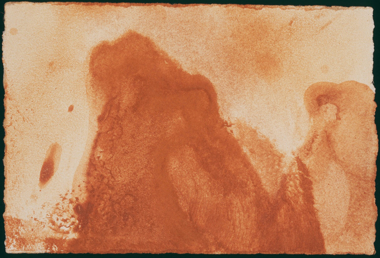 """My Elbow as a Boulder at   Canon   Beach, Oregon  2003  Pigments found on site 3.5"""" x 5"""""""