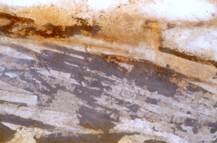 """Bedding Planes  Bay of Cassis, France 2000  Found natural pigment on paper 52 x 120"""", detail."""