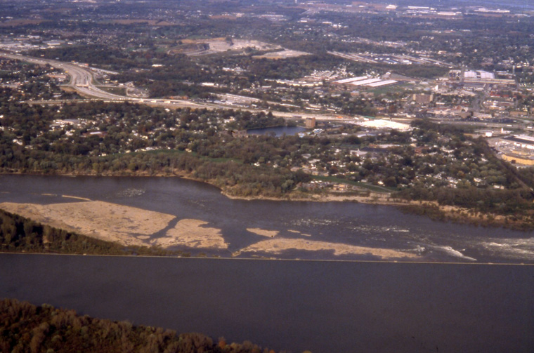 Falls of the Ohio at Louisville, KY, aerial photo from commercial jet, Karen McCoy, 2003