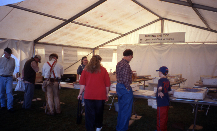 Turning the Tide , two week making-talking event in tent at Lewis and Clark Bicentennial Commemoration, Louisville, KY, with choreographer Melli Hoppe, 2003