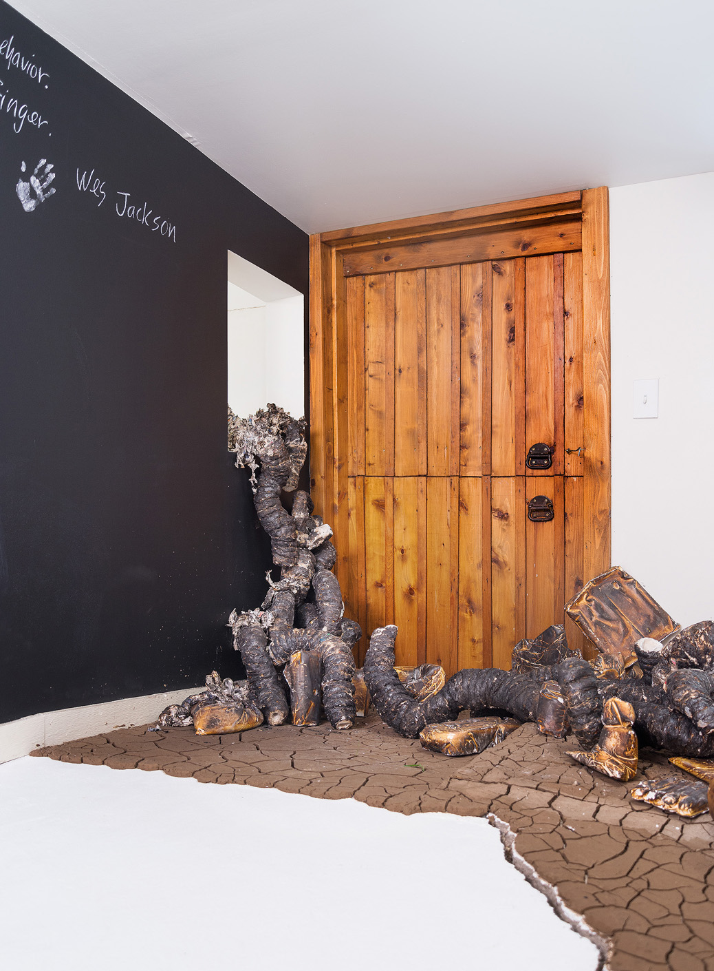 """Installation detail of charred organic forms shedding their skins as they """"climb"""" through a window into the adjacent gallery, cracked earth and participatory blackboard wall"""