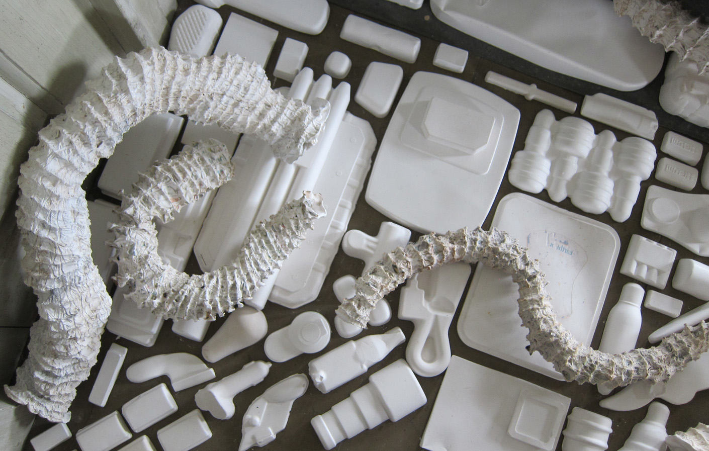 """Seemingly Unconnected Events  2011 Wentworth-Coolidge State Historic Mansion Portsmouth, NH  Main installation in Coolidge Room  DETAIL of plaster casts of fabricated, larger-than-life seaworm habitat tubes (Hydroides Dianthus) and consumer goods; seaworms 2-3"""" diameter x 17 shortest L and 37"""" longest; consumer goods life-sized."""