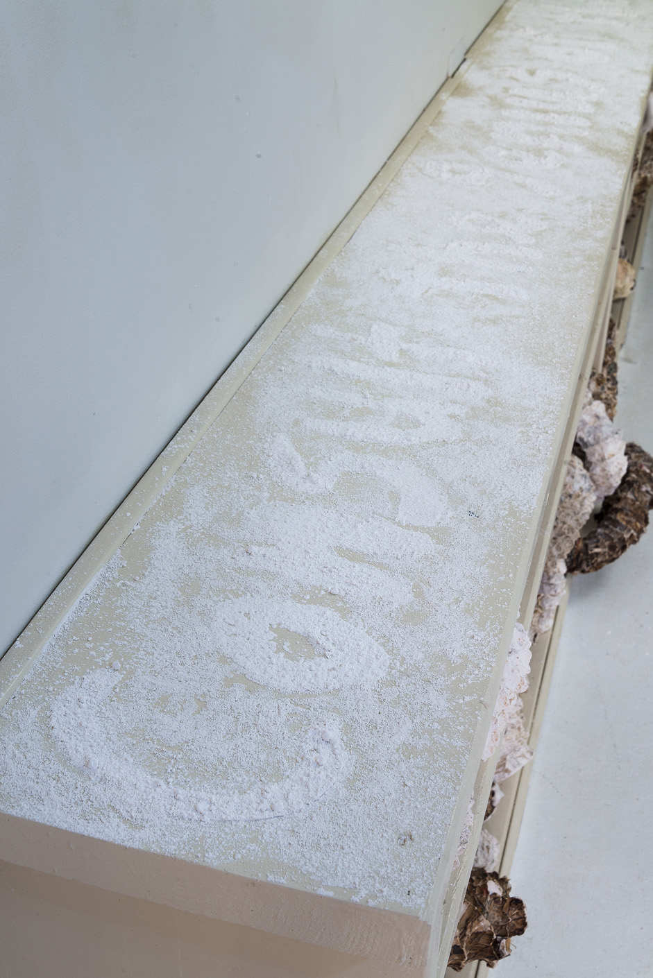 """Installation detail of bookcase surface, text from Wes Jackson stenciled in powdered plaster """"Consult the genius of the place . . . nature as measure"""""""