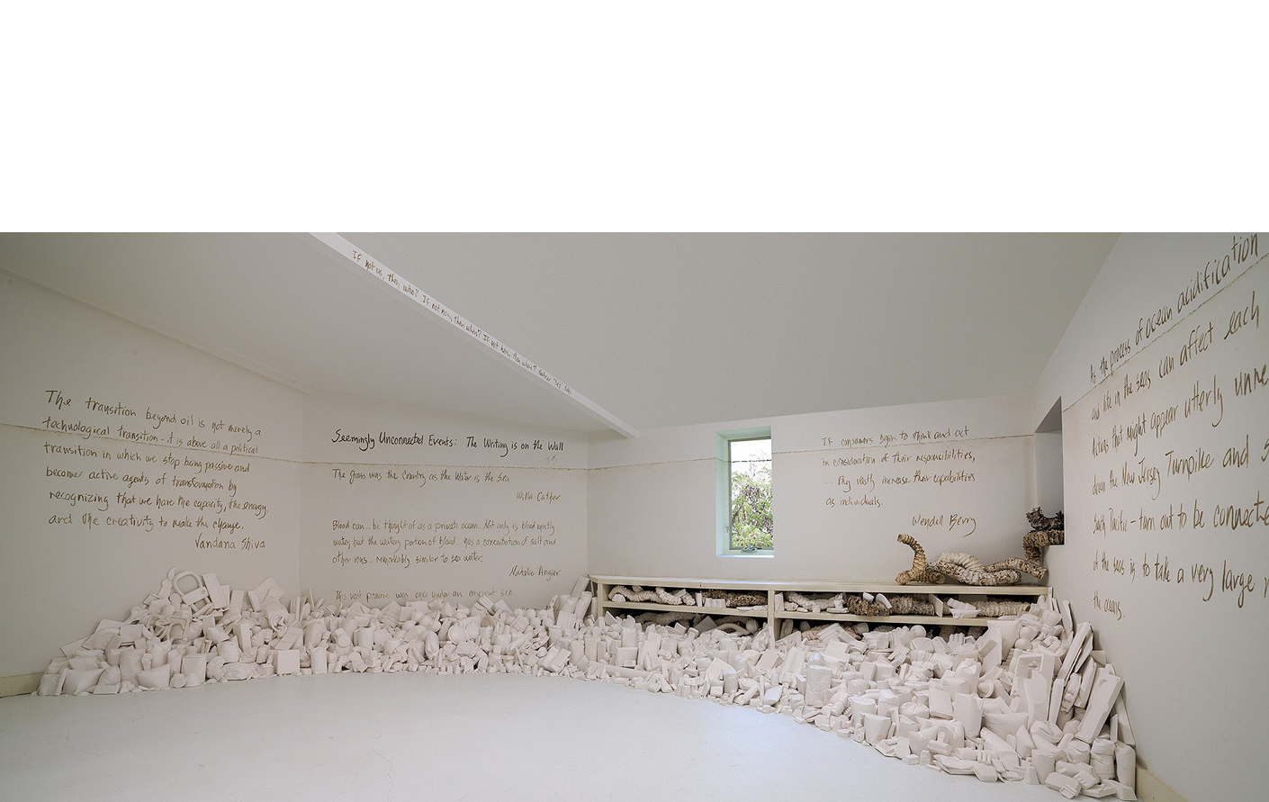 """Installation overview, plaster organic forms and consumer goods casts, """"waterline"""", wall texts drawn in Kansas mud featuring writings of Natalie Angier, Willa Cather, Wendell Berry, Stan Cox and Paul Cox, Wes Jackson, Elizabeth Kolbert, Karen McCoy, Naderev """"Yeb"""" Saño and Vandana Shiva, 15 x 14'5"""""""