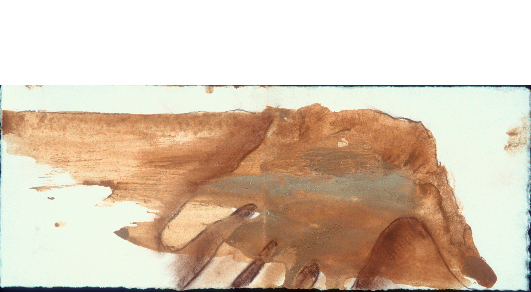 """My Hand As Cap Canaill  2000 handprint for invitation for exhibition NUCLEUS ,Camargo Foundation, Cassis, France.  Local earth pigments 3 x 9""""."""
