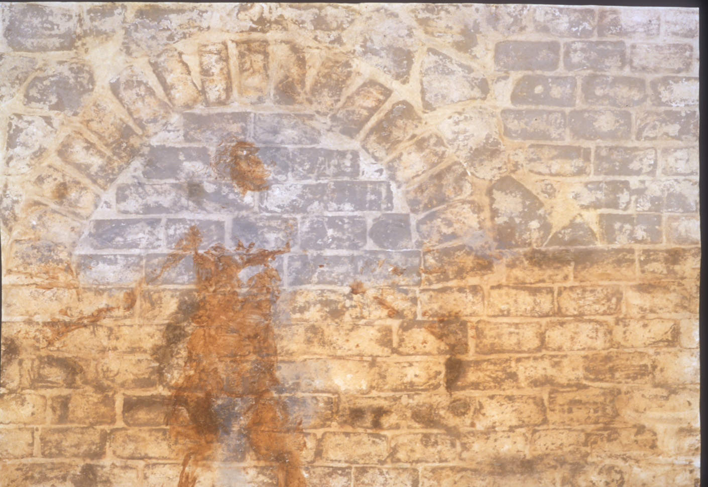 """Figure and Blocked Arch  2000, Palimpsest Series  Stain residue and body print with locally found earth pigments 52"""" x 80""""."""
