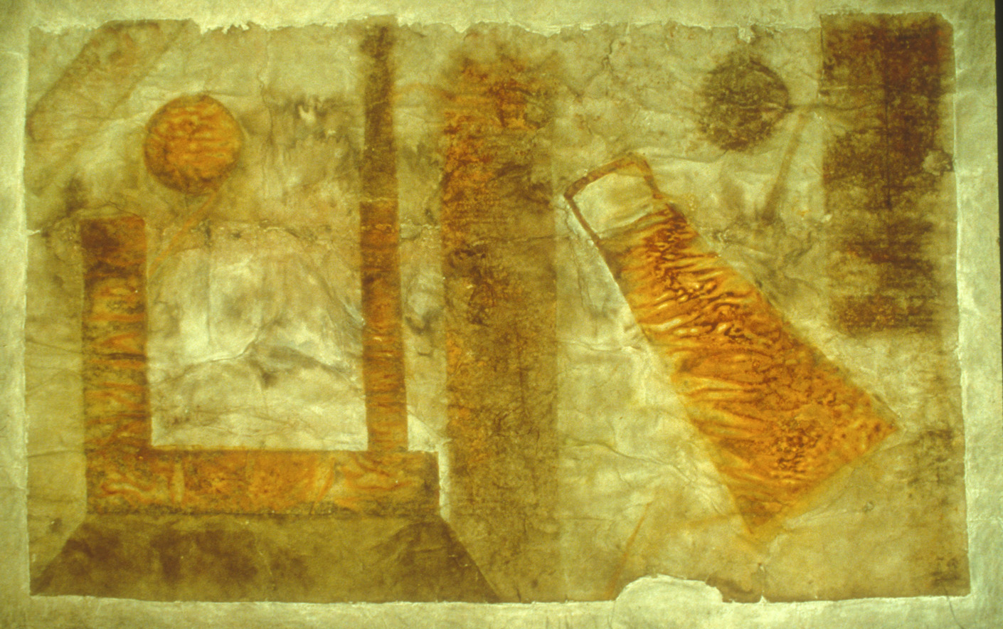 """Miasma  1986   Stain on muslin backed paper, 40 x 70""""."""