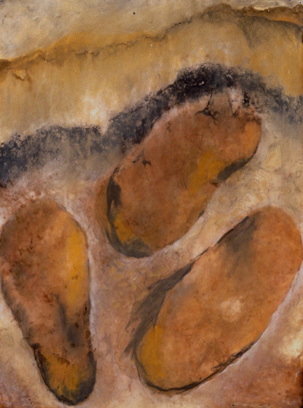 "Basalt Pillows On   Cavair  from John McPhee's  Assembling California , 2000  Stain & mixed media on paper, 20 x 32""."