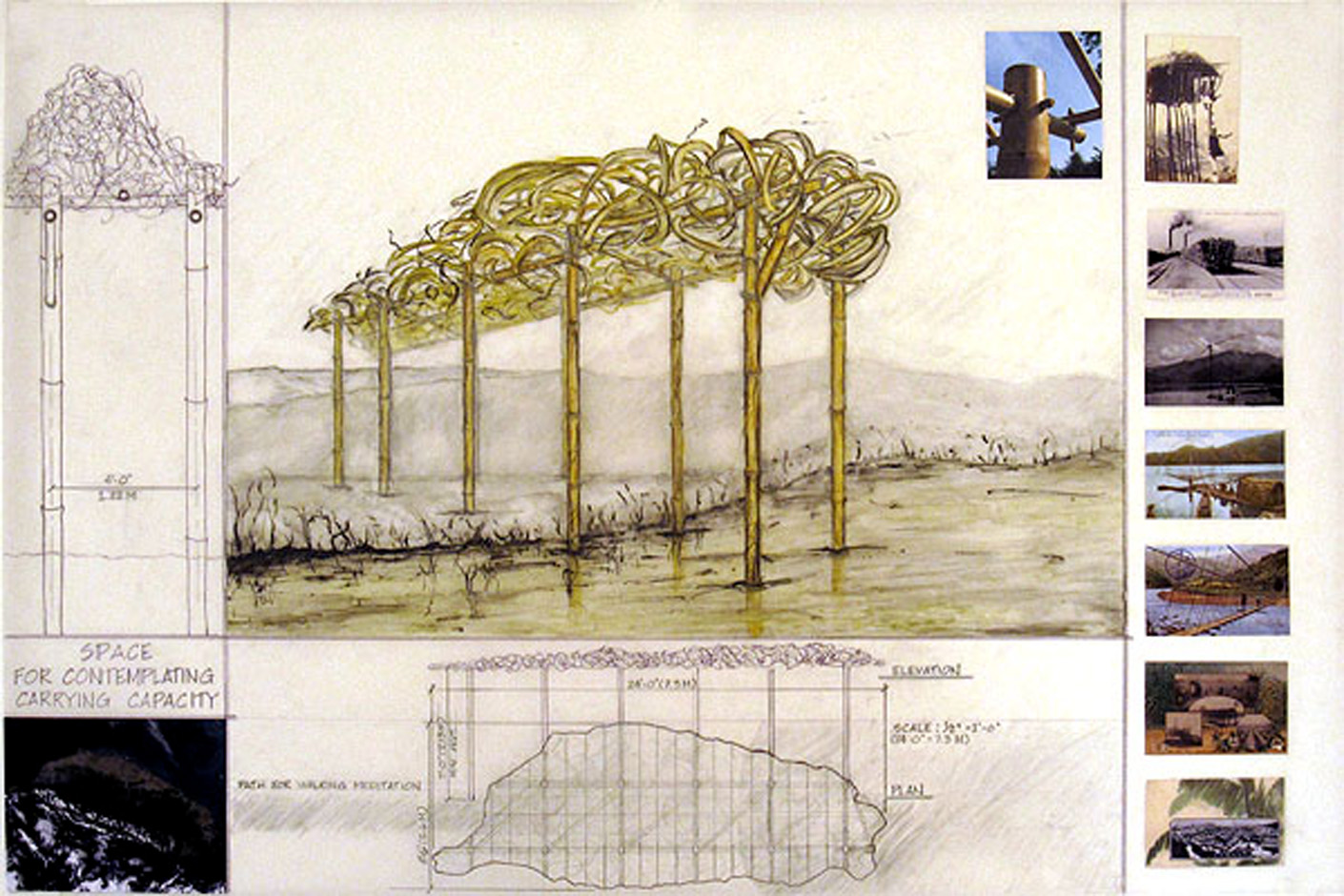 Proposal Drawing #2  Space for Contemplating Carrying Capacity: The Taiwan Tangle  2009  Proposal for Guandu Nature Park International Sculpture Festival, Taipei, Taiwan.  Ink and mixed media on drafting film.