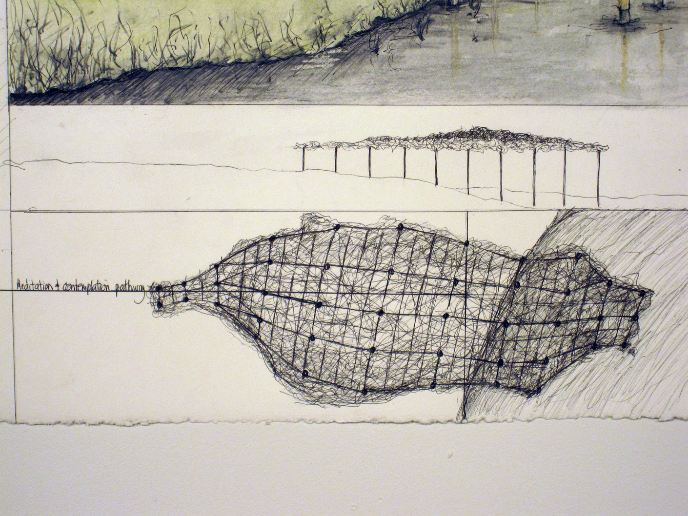 Proposal Drawing #1  Space for Contemplating Carrying Capacity: The Taiwan Tangle  2009  Proposal for Guandu Nature Park International Sculpture Festival, Taipei, Taiwan, 2009  Ink and mixed media on paper. detail of plan view.