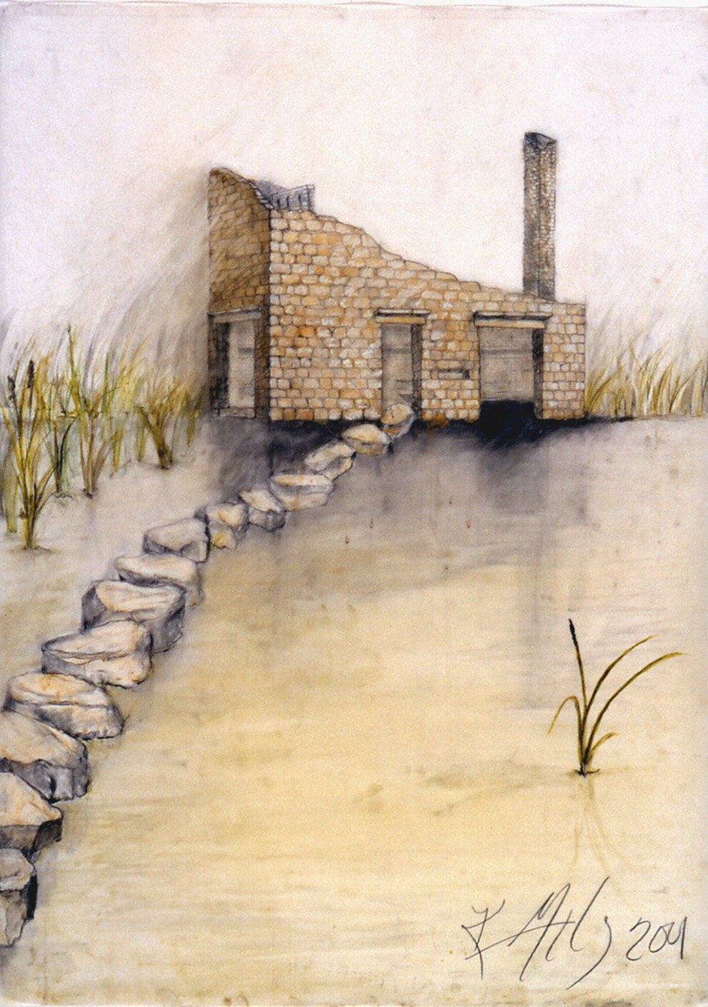 """Blind  Proposal Drawing for Riverfront Heritage Trail, Kansas City, MO, 2001-02  Mixed media on vellum, 26 x 36"""".  The size and shape of Blind are based on an old house that once existed near the site.Blind itself is a quiet place surrounded by a watery habitat that will become home to countless species when the old parking lot in Kansas City's River market area becomes a wetland. Blind is designed with viewing slits and a """"crows nest"""" upstairs for longer views across the wetland and Missouri River. Nesting platforms are built in the """"chimney"""" and on ledges in the stonework. Lingering there, human visitors may see a turtle basking on a log or a blue heron stretching its wings. Here, screened from view, city people can quietly connect with the natural world in a place that encourages observation, contemplation and listening."""