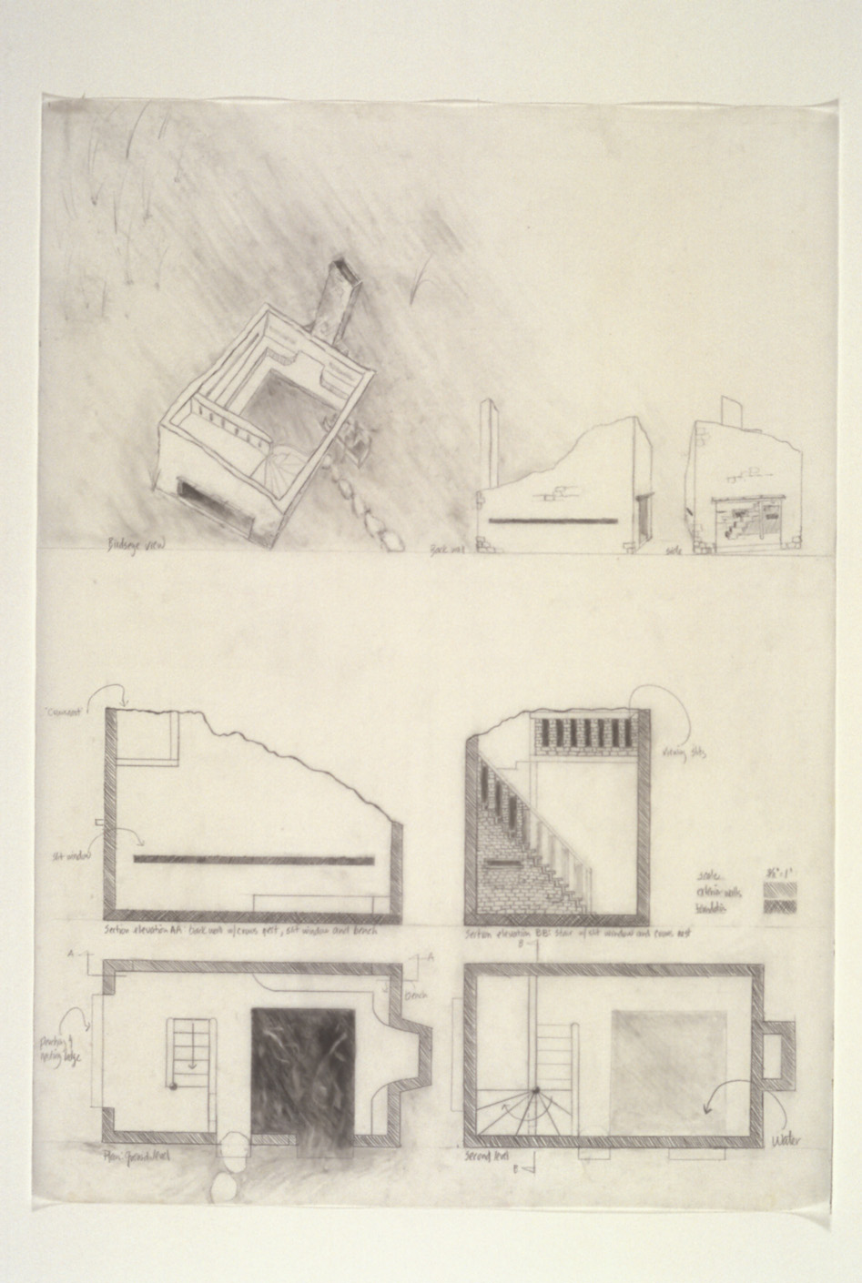 """Blind  Proposal Drawing for Riverfront Heritage Trail, Kansas City, MO, 2001-02  """"Birdseye"""" and Plan Views,graphite on vellum, 26 x 36."""