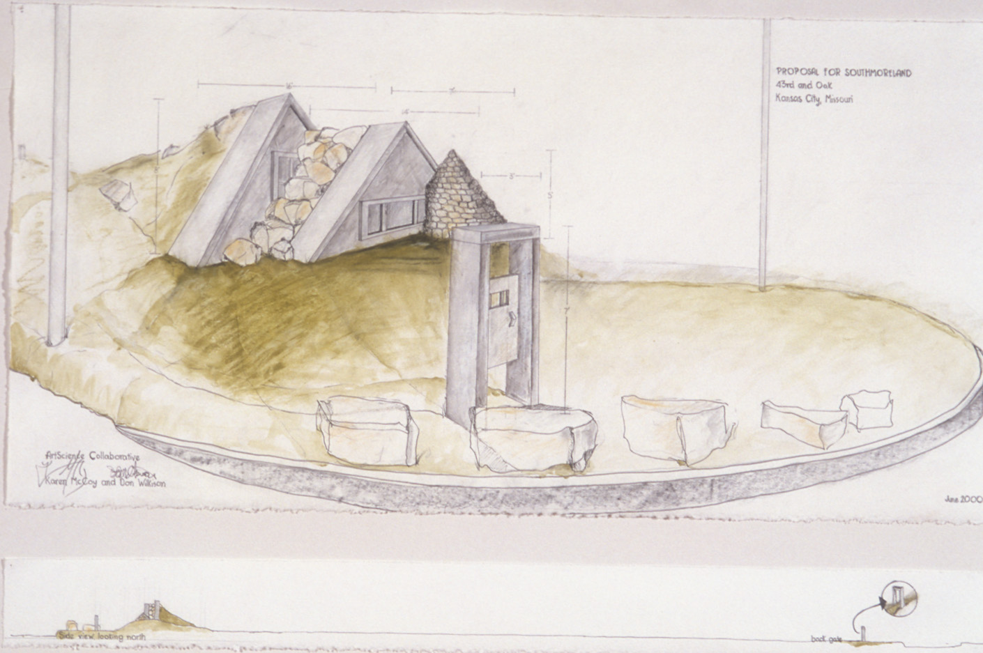 """Proposal For Southmoreland Neighborhood ArtScience Collaborative   Karen McCoy and Don Wilkison, Hydrologist. 2000  Mixed media on velum (drawings-McCoy), 22 x 30"""", detail of perspective."""