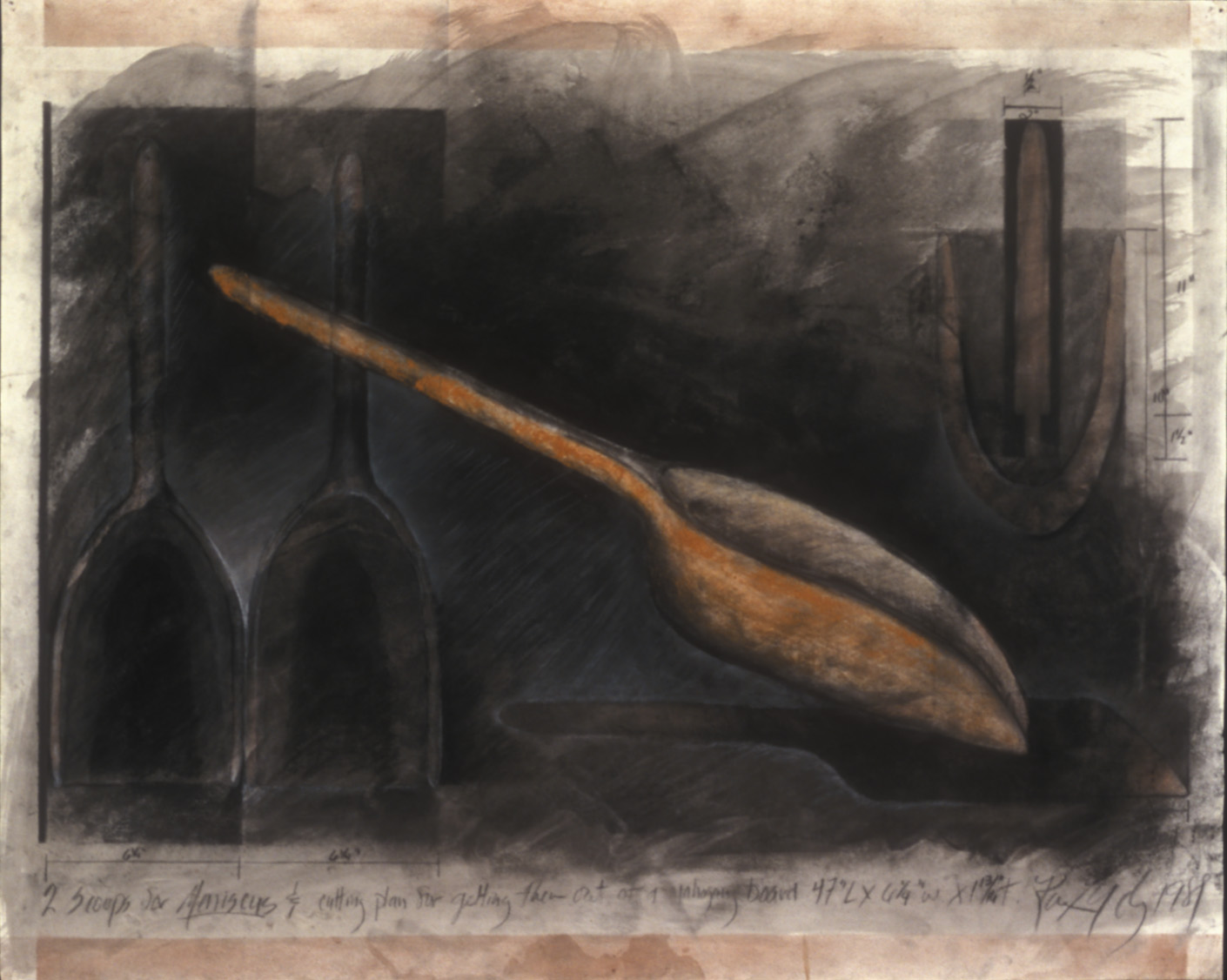 """Two Scoops for   Meniscu  1989  Charcoal and conte crayon on paper, 32 x 40"""".  Oppenheimer Collection, Nerman Museum for Contemporary Art, Johnson County Community College, Overland Park, Kansas."""
