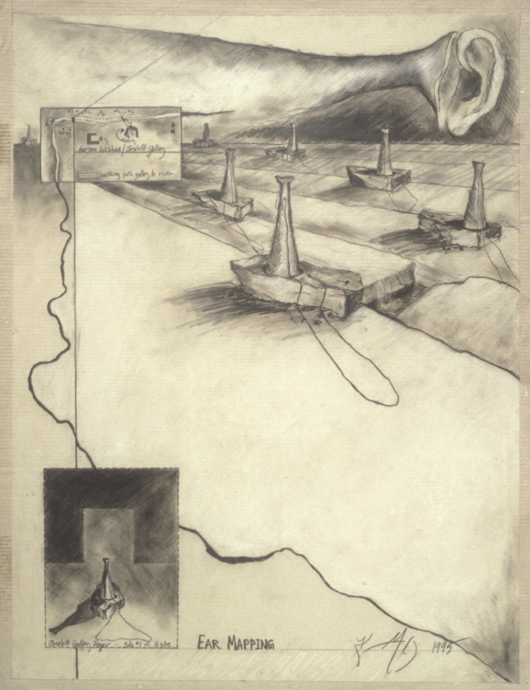 """Ear Mapping  Project for """"The Edge of Town"""", Joseloff Gallery, Hartford Art School, University of Hartford, CT., 1995  Charcoal and mixed media, 22 x 30"""" ."""