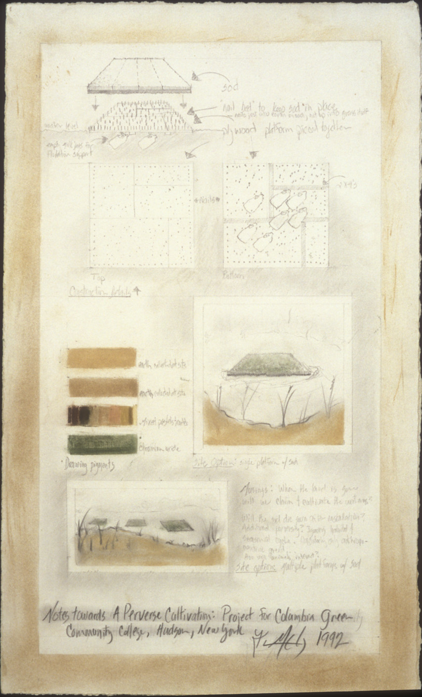 """Perverse Cultivation  Project for Hudson Valley Community college, Hudson, NY. 1992  Mixed media, 18  x 10""""."""