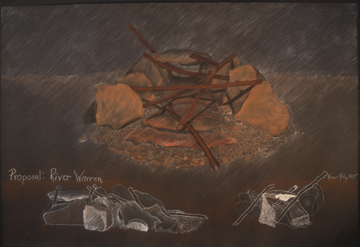 """River Warren  Proposal for the Minnesota Division of Natural Resources, St. Paul, MN, 1984  Conte on paper, 30 x 40""""."""