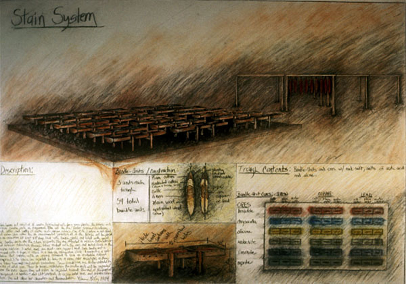 """Stain System  Proposal to Art Park, New York, 1983  Mixed media on paper, 30 x 40""""."""