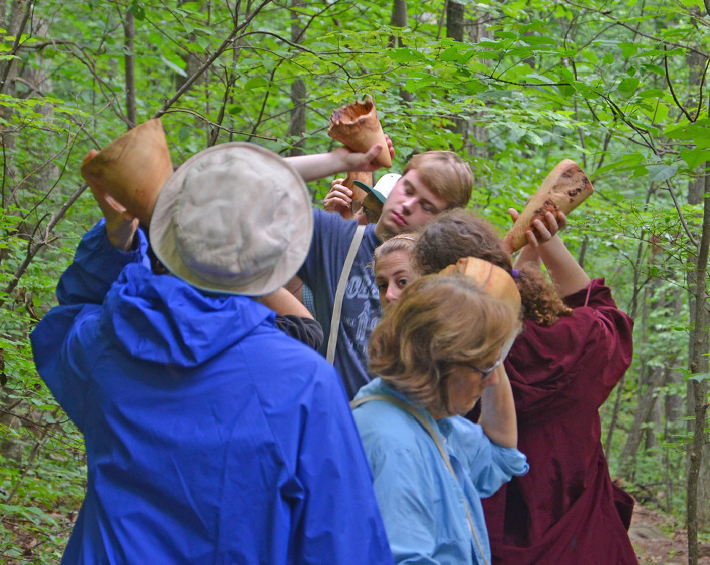 Sight and Sound Walks, collaboration with Robert Carl, listeners with trumpets on the Appalachian Trail, Blue Ridge Mountains, VA Photography: John S. Taylor