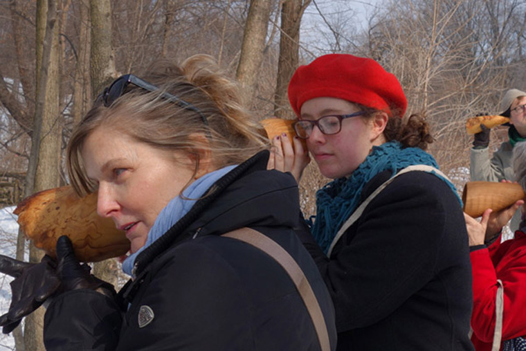 Michele, Raleigh, Maureen and Doug listening at the Loch, Sound and Sight Walk in the North Woods of Central Park, New York City, March 8, 2015. Ten handcarved wooden burl ear trumpets used by participants. Walk planned and led by Karen McCoy by invitation of the Walk Exchange, NY. (photo: Karen McCoy)