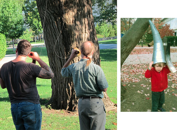 Listeners and guests at opening, Installation in Gingko tree, campus green, Kansas City Art Institute, Kansas City, MO