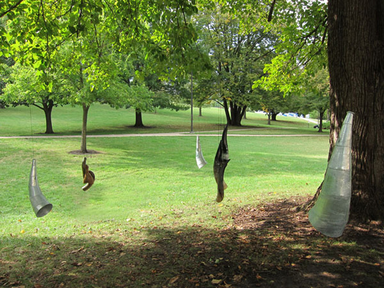 Listeners, installation in Basswood tree, Marvin Grove, KU campus (behind the Spencer Museum).