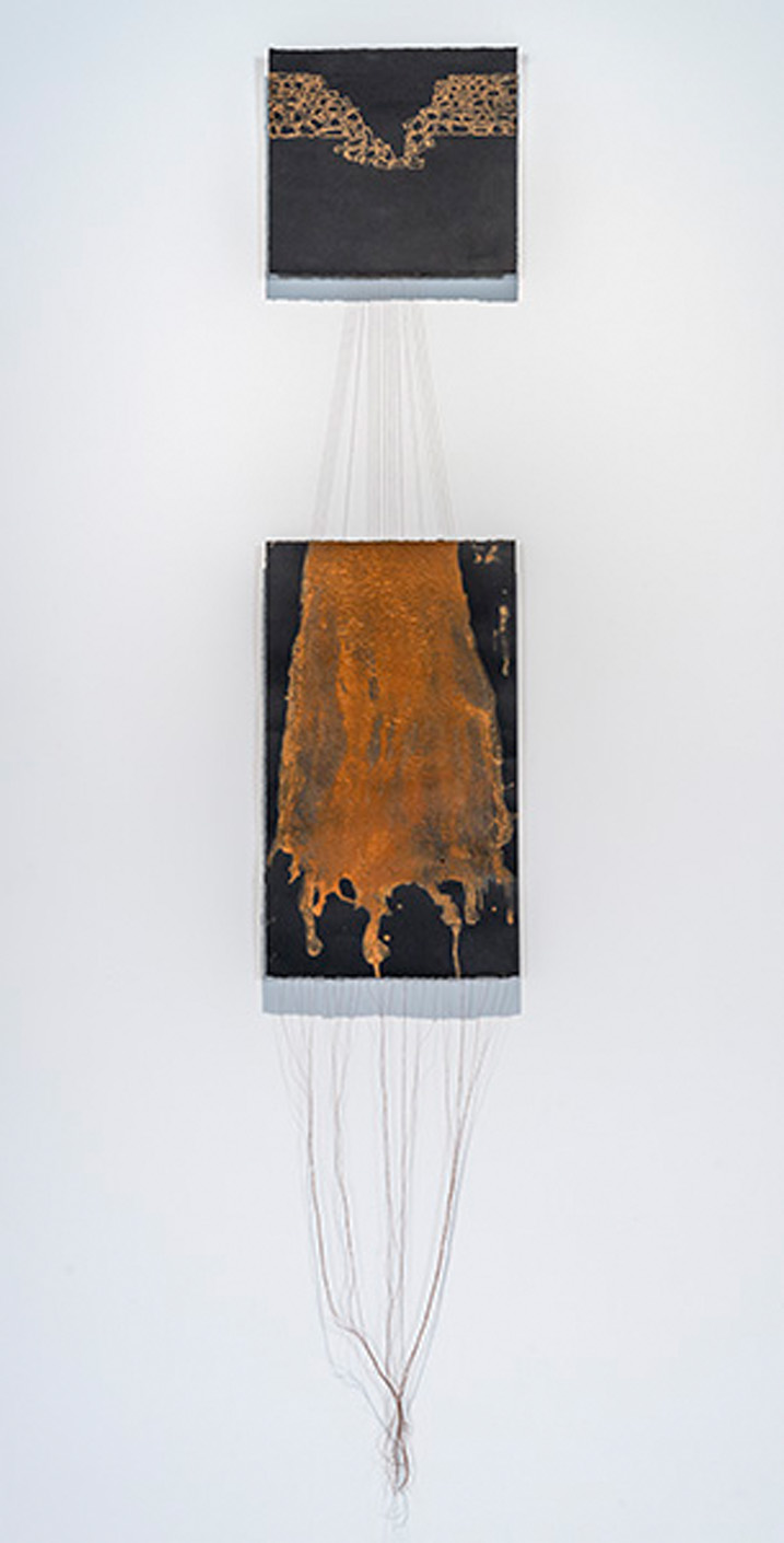 Cause and Effect: Landslide in Nervi    2014, egg tempera withfound earth pigments and thread