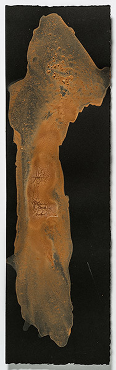 """Study for Consuming Questions   2015, egg tempera with found earth pigments, 18.5"""" x 5.375"""""""