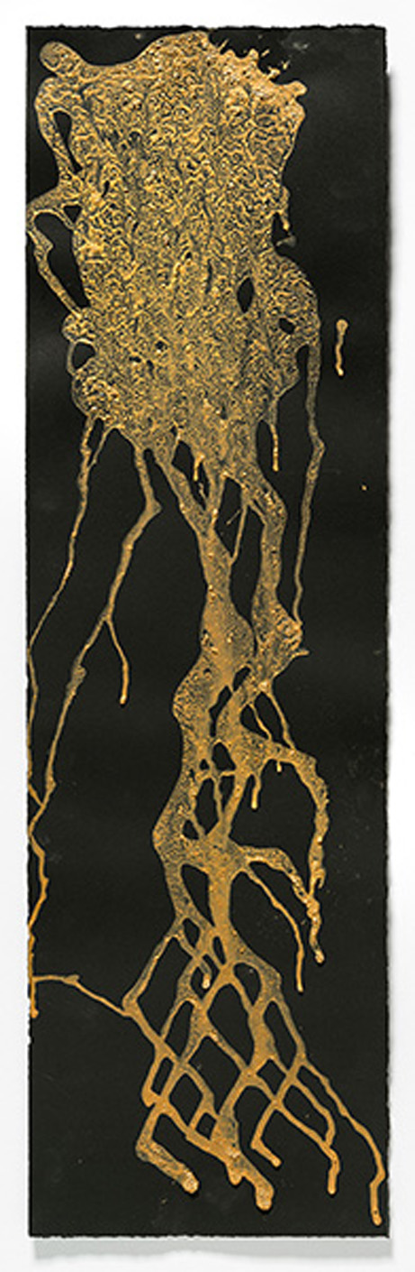 """Surface Separation   2015, egg tempera with found earth pigments, 30"""" x 8.875"""""""