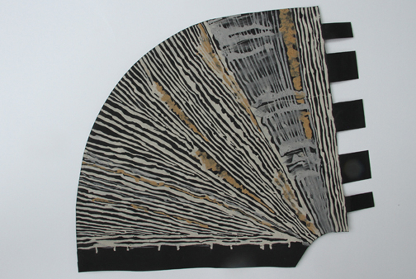 """Pattern for Print, Cut and Fold open source paper listening trumpet, 2014, original drawing with pigments found in Wales on black Stonehenge paper, 9x 12""""."""