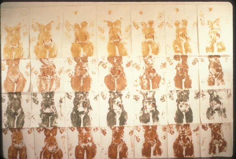 """Seeking Symmetry  1990  Body prints with stencils, natural pigments found on Martha's Vinyard, MO, on paper, each 24 """" x 30"""", group 1''x 12'."""