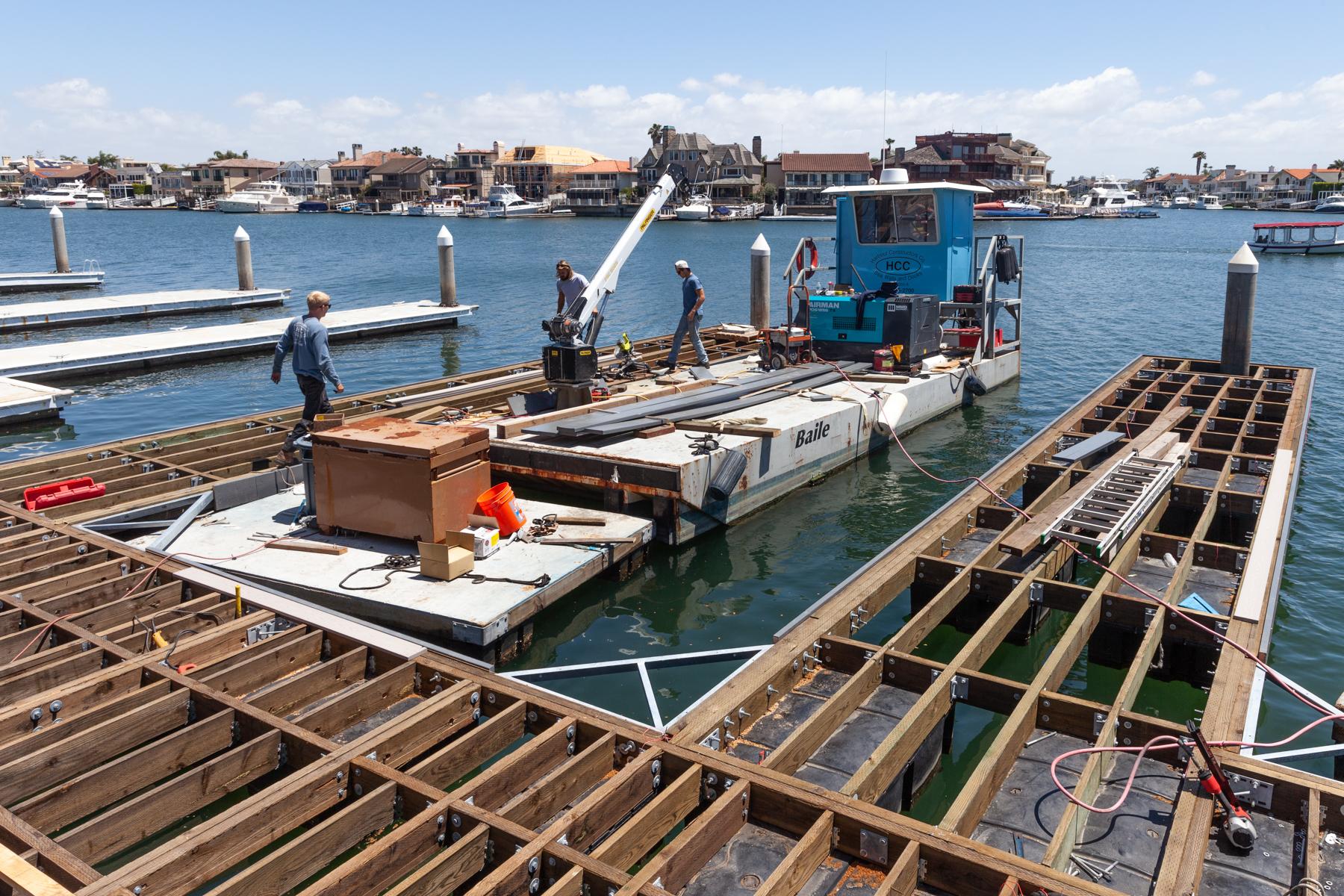 Construction of a U-Shape Dock, Huntington Harbour, CA